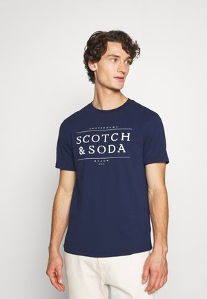 SHORT SLEEVE LOGO TEE - Print T-shirt - navy