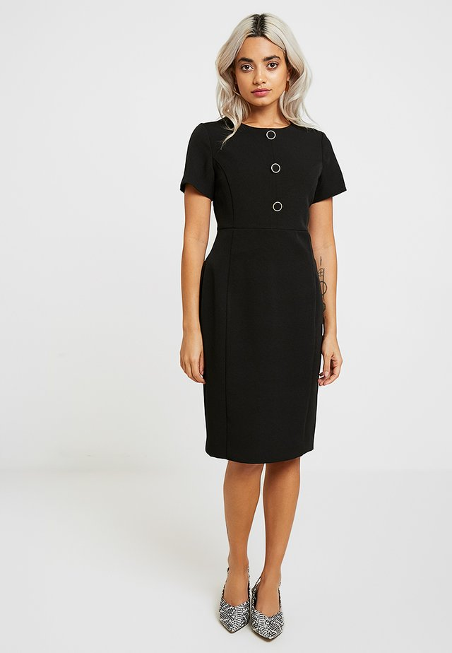 BUTTON DRESS - Pouzdrové šaty - black