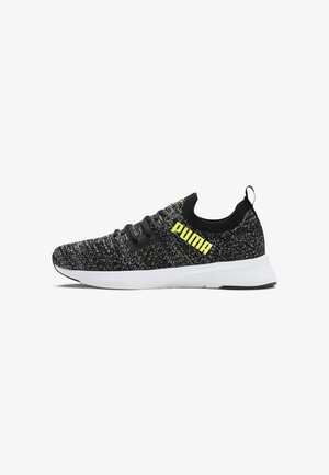 PUMA FLYER RUNNER ENGINEERED KNIT MEN'S RUNNING SHOES MALE - Trainers - black-white-fizzy yellow