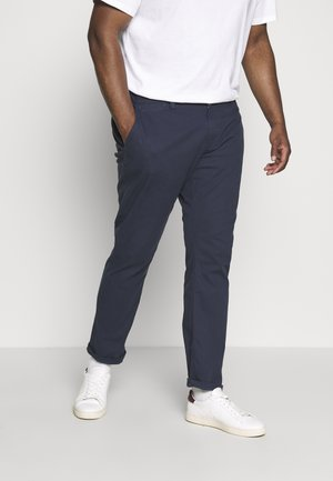 WASHED STRUCTURE CHINO - Trousers - navy yarn dye structure