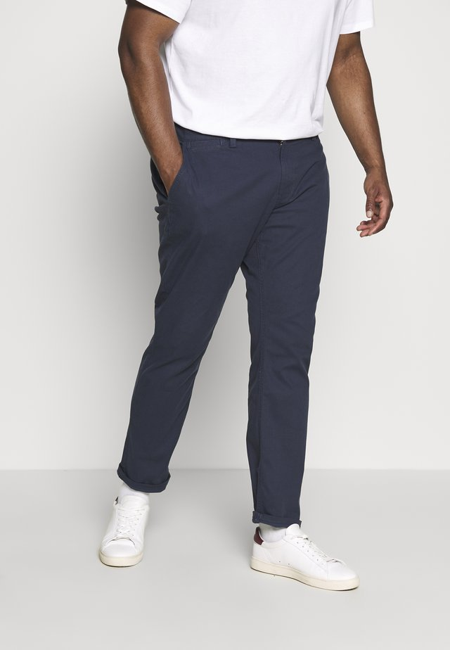 WASHED STRUCTURE CHINO - Pantaloni - navy yarn dye structure