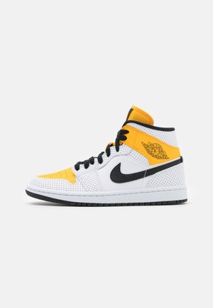 WOMENS AIR JORDAN 1 MID - Sneaker high - white/black/university gold