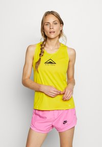 Nike Performance - CITY SLEEK TANK TRAIL - Sports shirt - speed yellow/black/black - 0