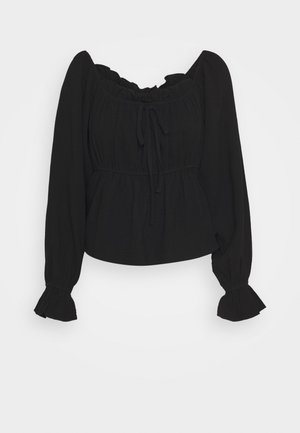 CUTE FRILL BLOUSE - Blus - black