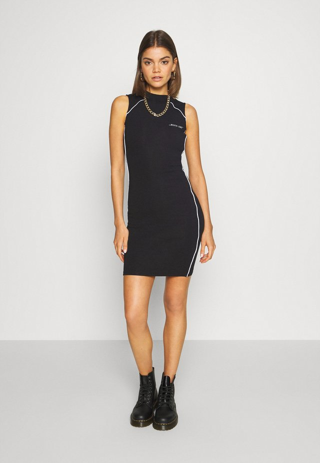 DRESS WITH REFLECTIVE PIPING - Shift dress - black