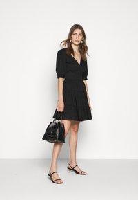 MICHAEL Michael Kors - V NECK PUFF DRESS - Day dress - black - 1