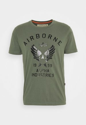 AIRBORNE  - Print T-shirt - olive