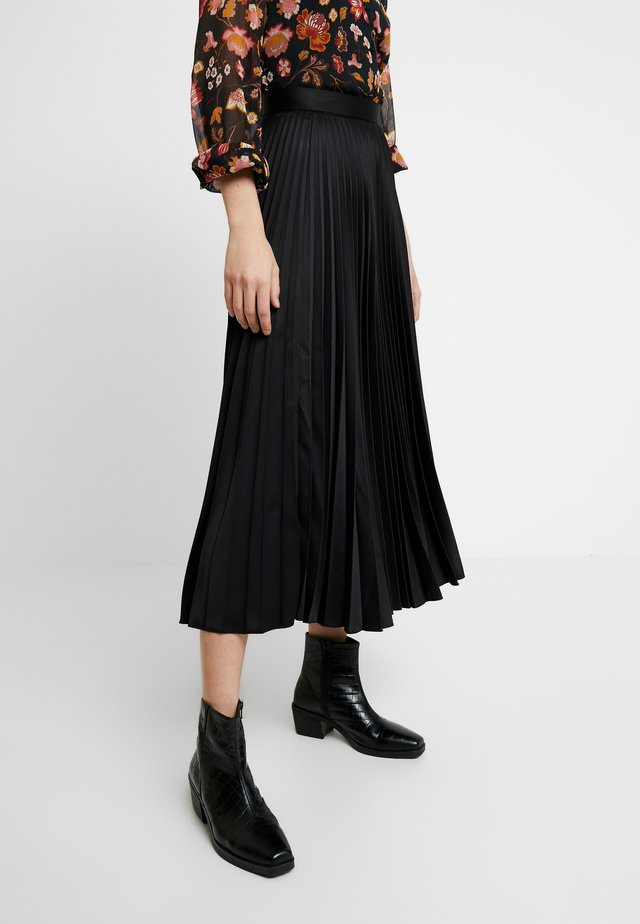 PLEATED MIDI SKIRT - Maxi skirt - black
