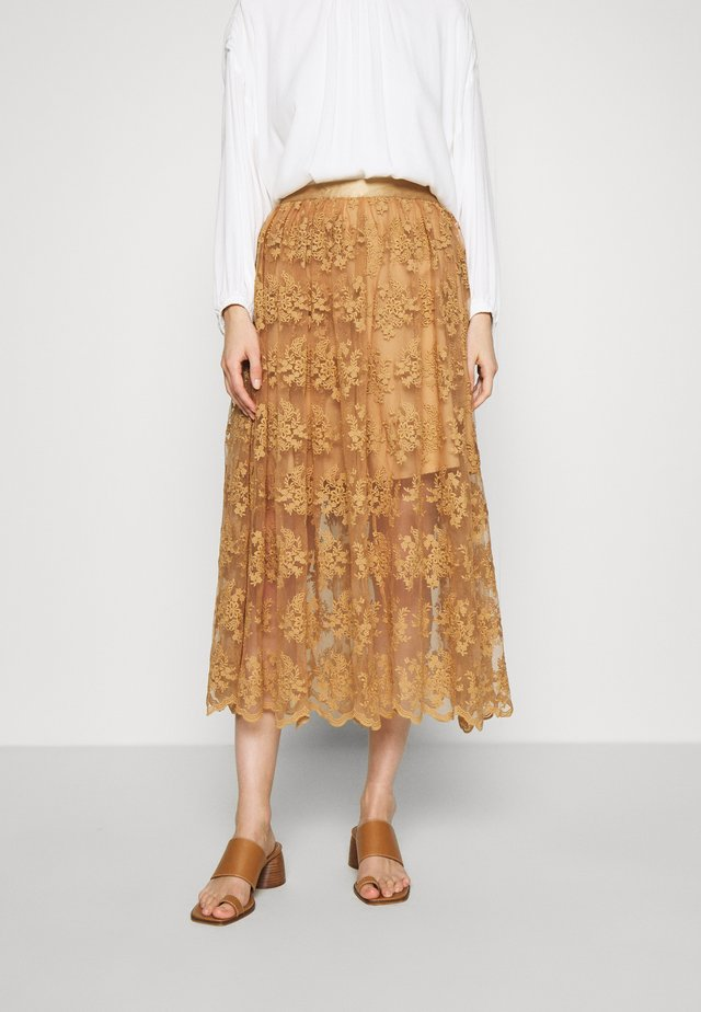 ZENIA - A-line skirt - indian tan khaki