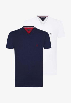 SHORT SLEEVE 2ER PACK - T-shirt basic - navy white