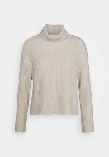 RIBBED BOXY TURTLE NECK - Sweter - beige
