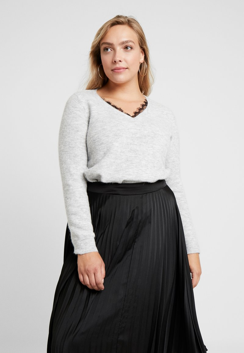 Vero Moda Curve - VMIVA V NECK - Jumper - light grey melange/snow melange