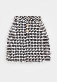Missguided Petite - HOUNDSTOOTH SKIRT - Mini skirt - black - 0