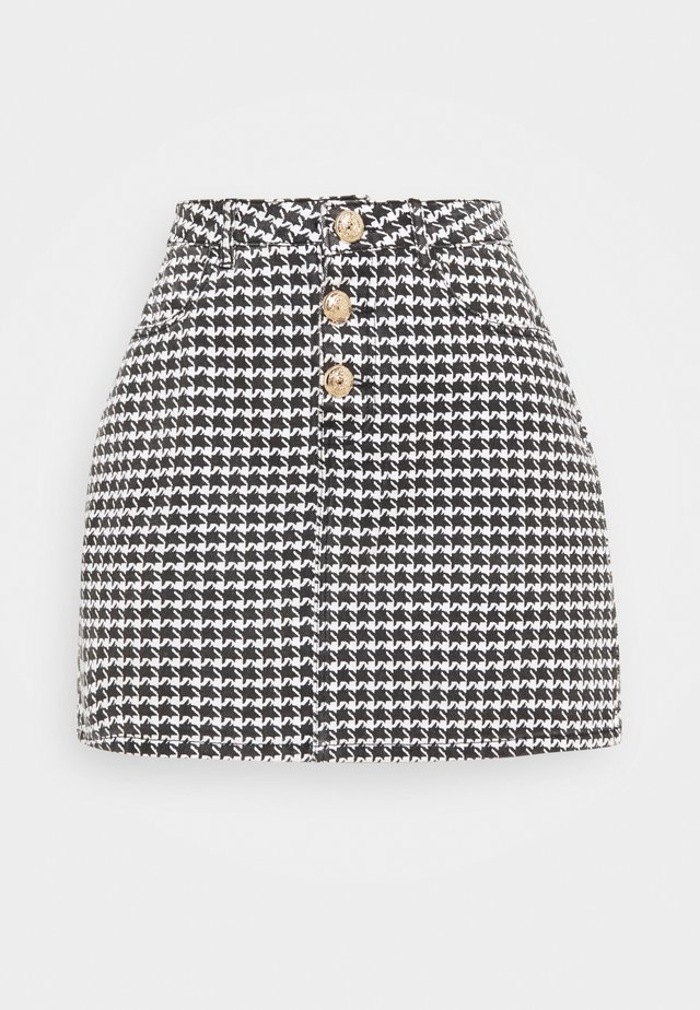 HOUNDSTOOTH SKIRT - Minifalda - black