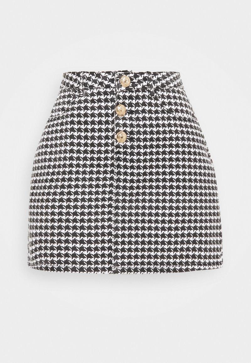 Missguided Petite - HOUNDSTOOTH SKIRT - Mini skirt - black