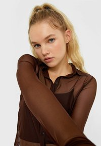 Stradivarius - Button-down blouse - brown - 3