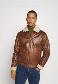 Jack & Jones - JJFLIGHT JACKET - Faux leather jacket - cognac - 0