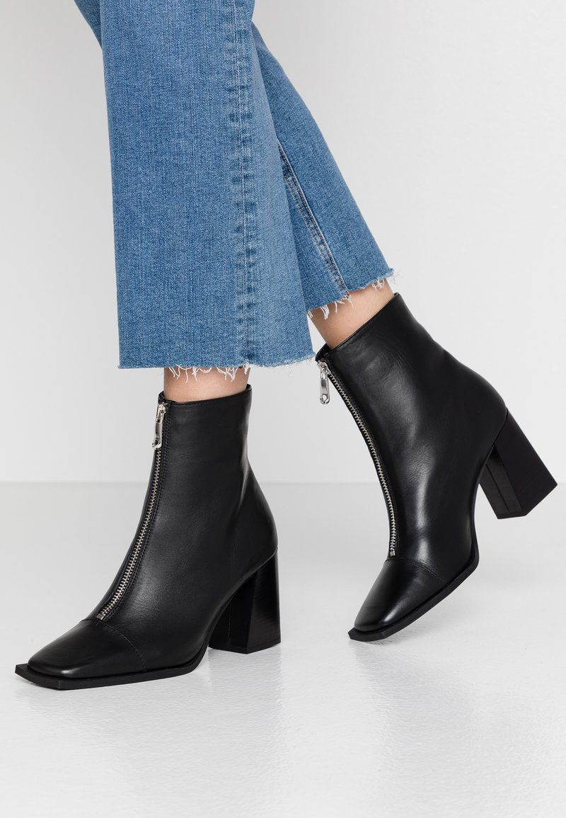 Topshop - HEIDI ZIP BOOT - High heeled ankle boots - black