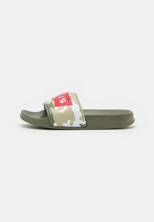 POOL UNISEX - Pantofle - khaki/red