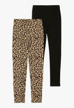 2 PACK - Leggings - Trousers - schwarz/nuss