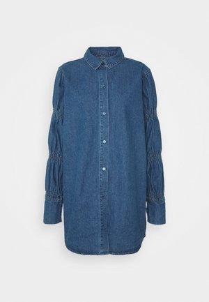 ELASTICATED PUFF SLEEVE DRESS - Sukienka jeansowa - blue