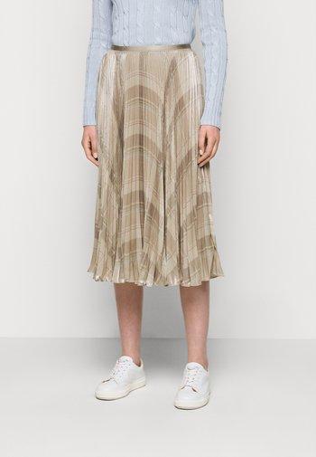 PLAID SKIRT - Pleated skirt - tan/multi
