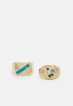 MISMATCH AND LINE SIGNET 2 PACK - Pierścionek - gold-coloured