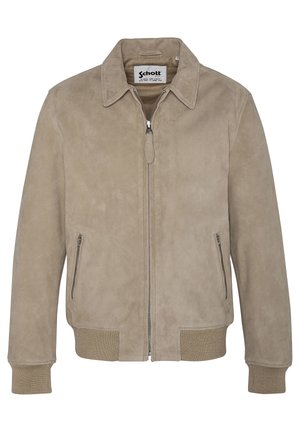 EFFET VELOURS - Leather jacket - beige