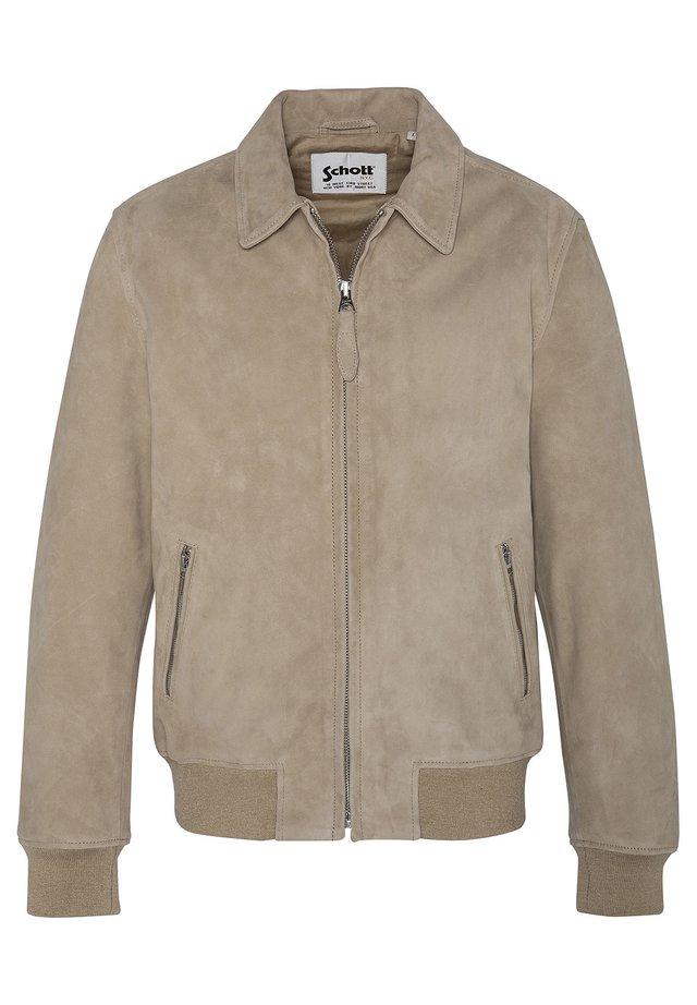 EFFET VELOURS - Leather jacket - beige