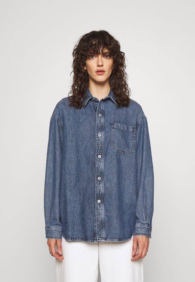 OVERSIZED SHIRT - Button-down blouse - blue denim