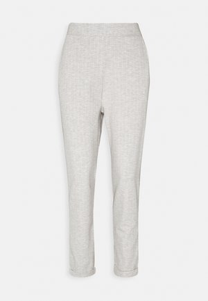 TAPERED TROUSERS WITH TURNED UP HEM - Pantalones - mottled grey/white