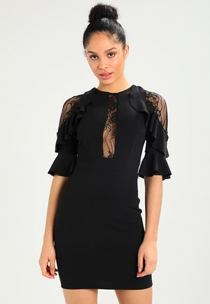 RUFFLE SLEEVE INSERT MINI - Cocktailjurk - black