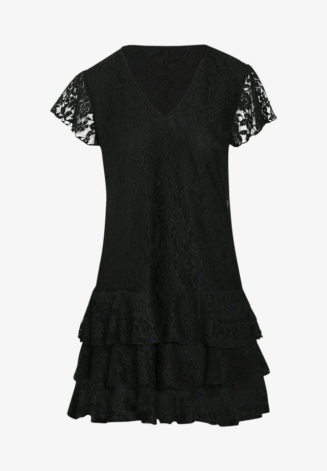 MIT VOLANTS UND SPITZE - Korte jurk - black