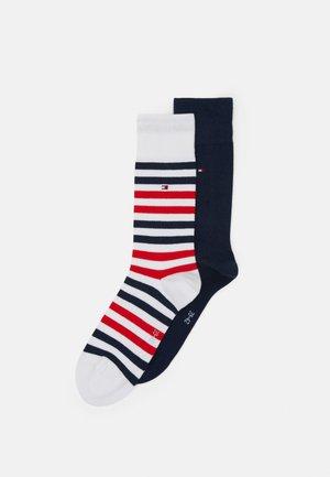 MEN DUO STRIPE SOCK 2 PACK - Socks - white/dark blue