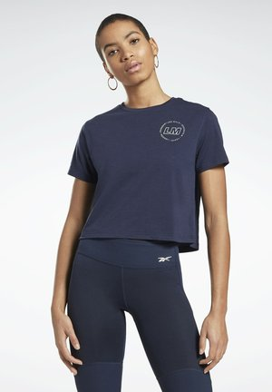 LES MILLS® CROPPED T-SHIRT - T-shirt con stampa - blue