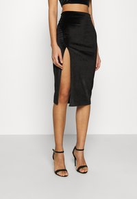 Glamorous - MIDI SKIRT WITH FRONT SIDE SPLIT - Jupe crayon - black - 0