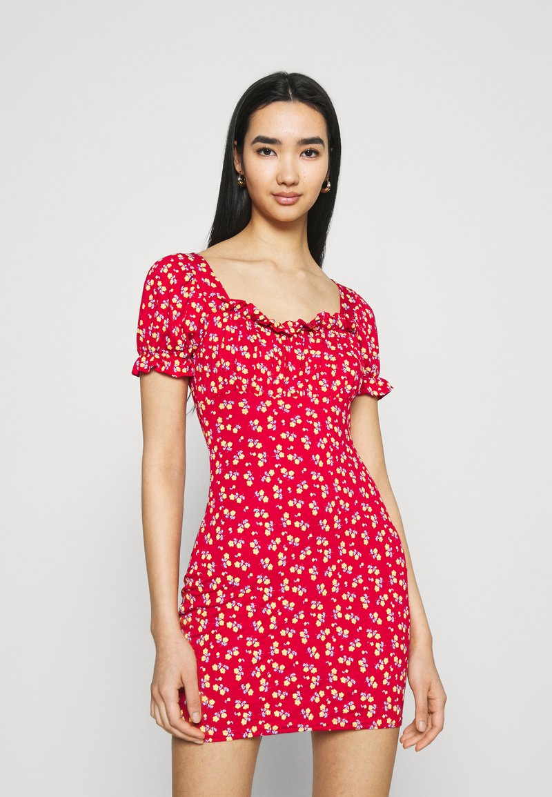 Missguided - DITSY FRILL DETAIL PUFF SLEEVE DRESS - Jerseykjole - red