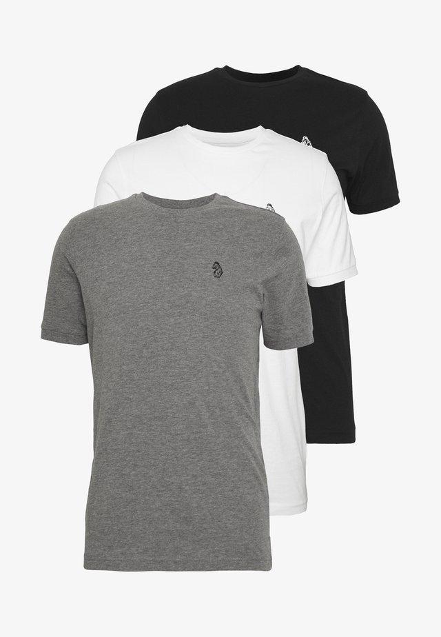 JOHNNYS 3 PACK - T-shirt - bas - black/grey/white