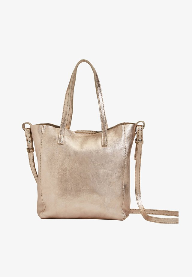 METALLIC LEATHER MINI SHOPPER - Across body bag - gold