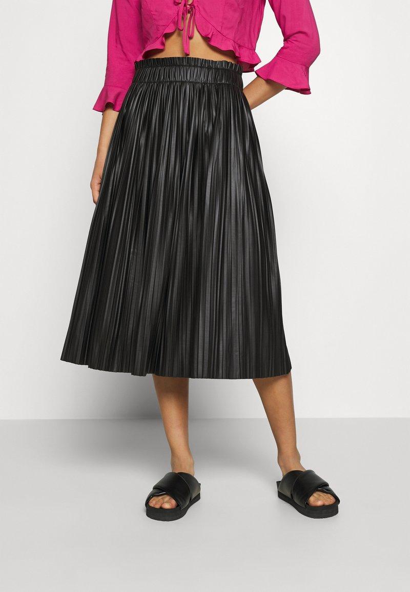 ONLY - ONLMIE MIDI PLEAT SKIRT - A-line skirt - black