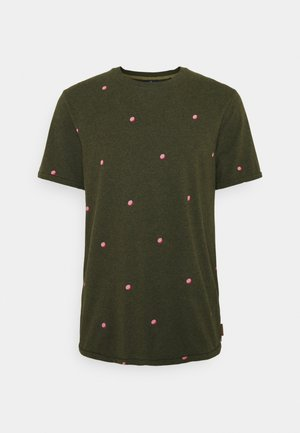 WITH SMALL PRINT - Print T-shirt - dark green/light pink