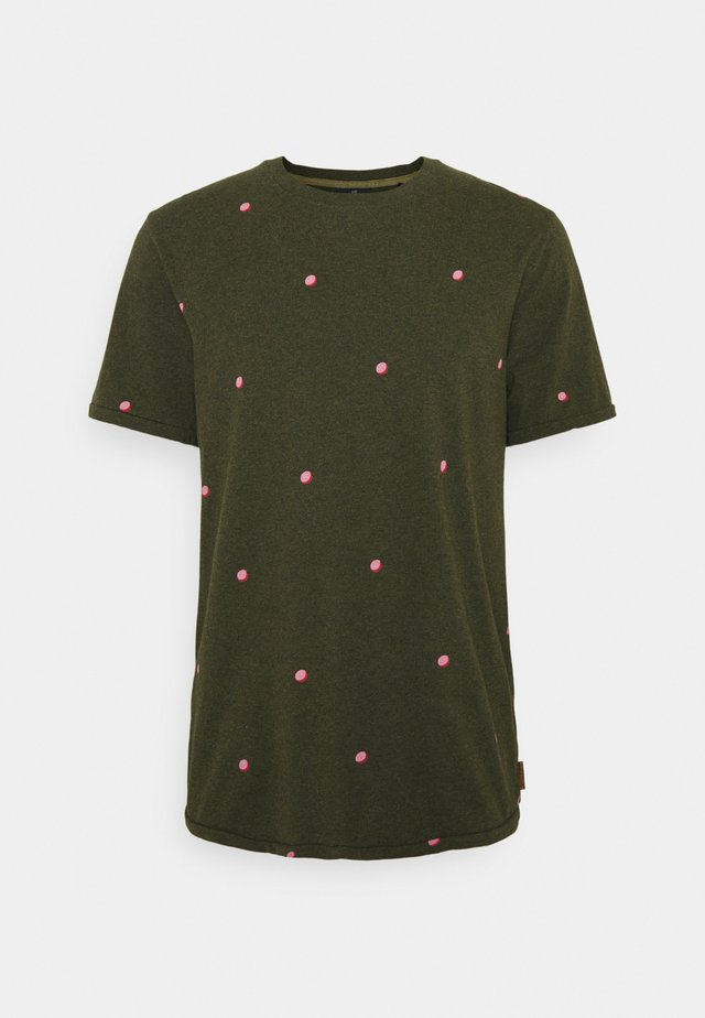 WITH SMALL PRINT - Printtipaita - dark green/light pink