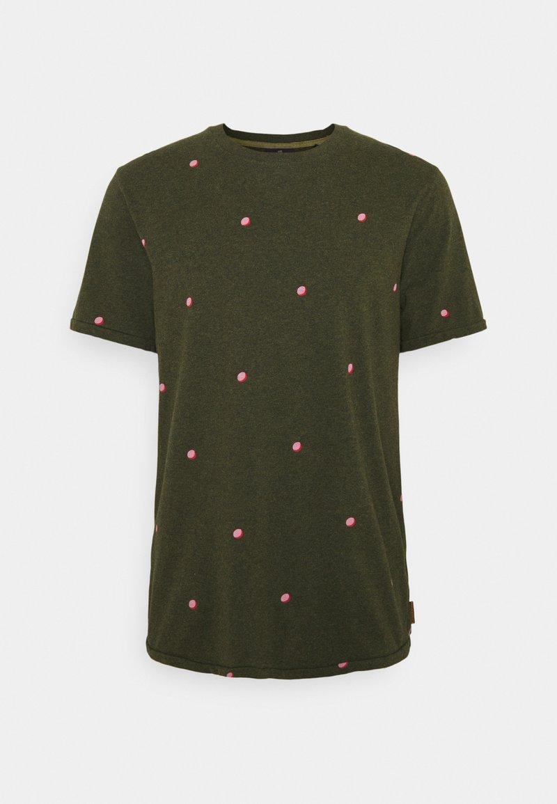 Scotch & Soda - WITH SMALL PRINT - T-shirt med print - dark green/light pink