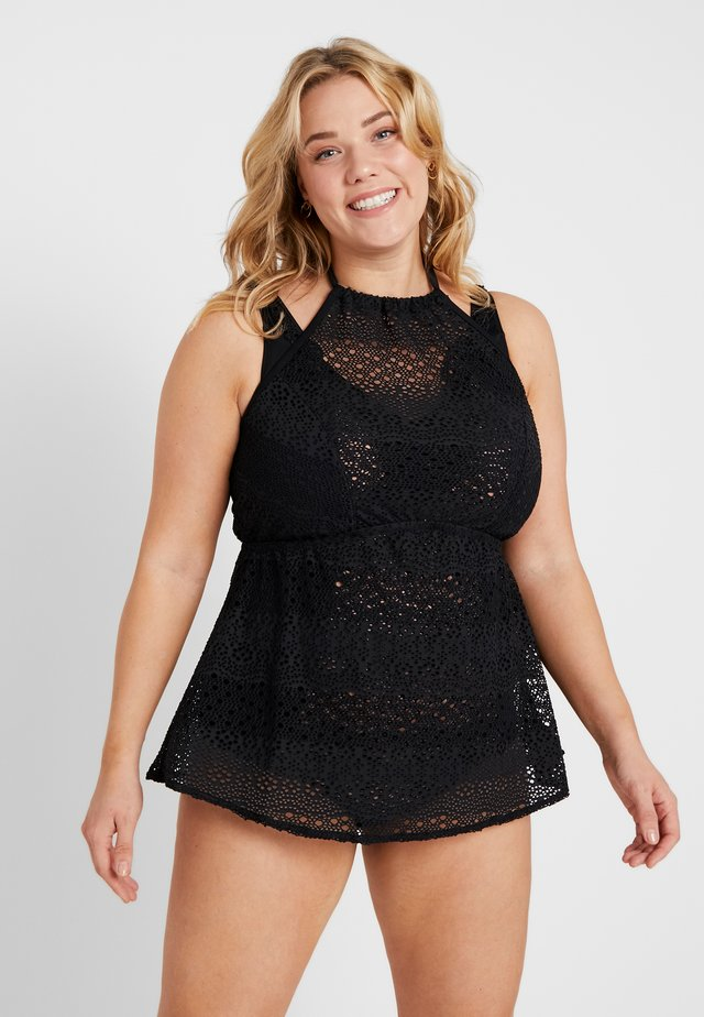 INDIE HIGH NECK TANKINI COVER UP - Bikinitoppe - black