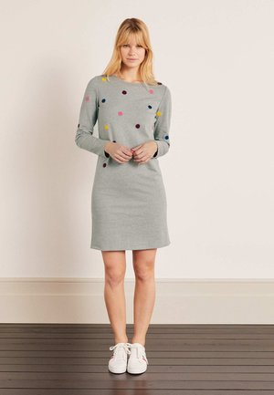 Jumper dress - grau meliert, bouclé-punkte