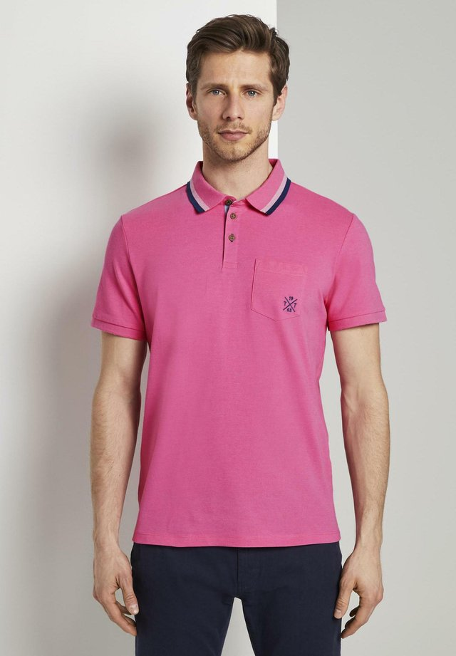 WITH TIPPINGS - Polo - carmine pink white melange