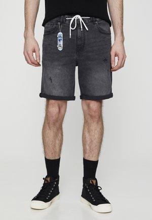 Jeansshorts - mottled dark grey