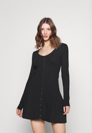 Ribbed button through mini dress - Strikket kjole - black