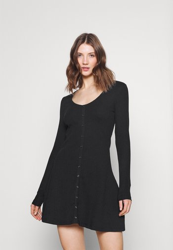 Ribbed button through mini dress