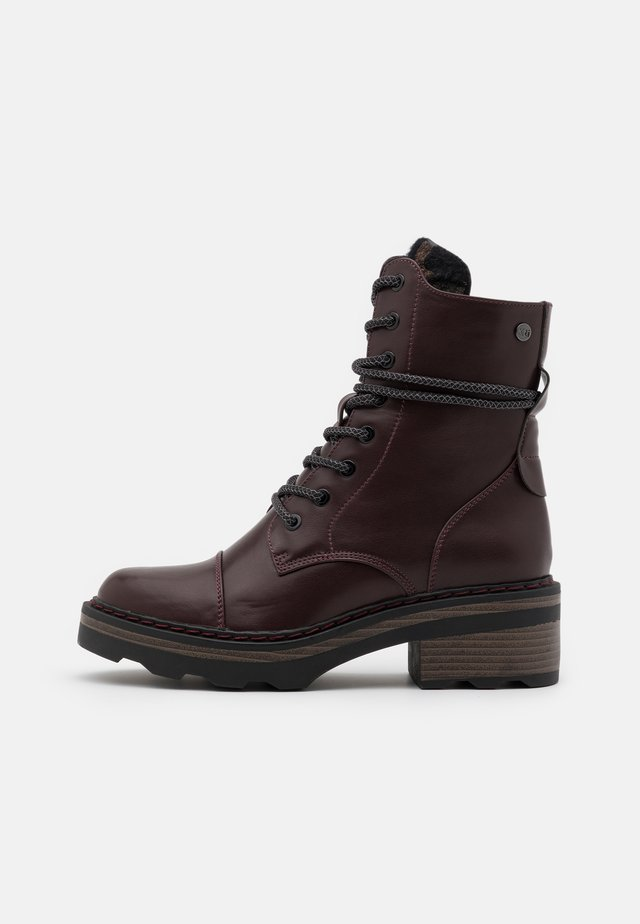 Bottines à plateau - burgundy